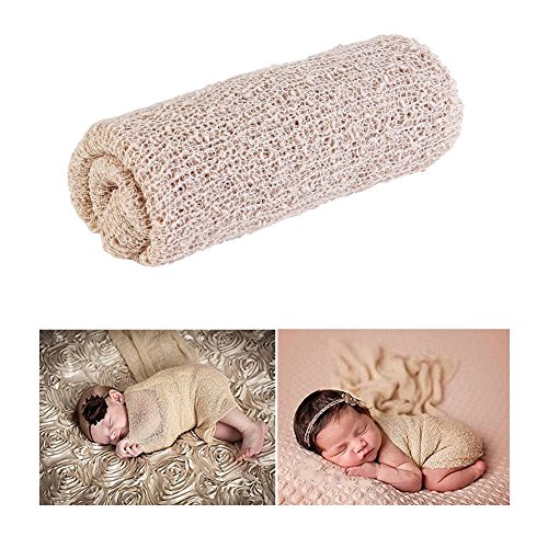 Veewon Newborn Baby Photography Photo Props Stretch Wrap Knit Yarn Cloth Baby Swaddle Wrap Blanket (Khaki)