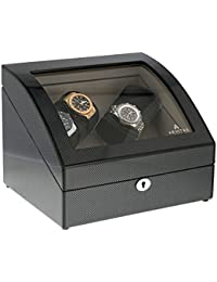 Quad Carbon Fibre 4 Watch Winder with LED Light and Storage for 4 Watches by Aevitas