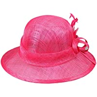 Peng sounded Moda Sombrero de Pescador de Lino de señora Sombrero de Playa de Verano con bombín de Color Mixto. (Color : Rojo)