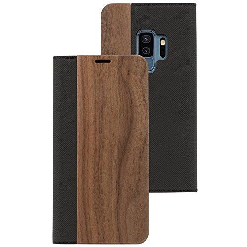 Samsung Galaxy S9 Plus Hülle Echt-Holz Handyhülle von NALIA, Handmade Natur-Holz Handy-Tasche Klapphülle Flip-Case, Dünnes Slim Kunst-leder Hardcase, Wood Cover Bumper für Samsung S9+, Farbe:Walnuss