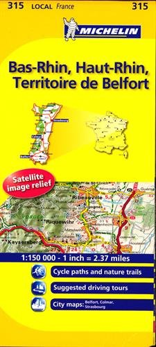 Bas-Rhin, Haut-Rhin, Territoire De Belfort Michelin Local Map 315 (Michelin Local Maps)