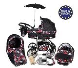 Twing - 3 in 1 Reisesystem einschließlich Kinderwagen mit schwenkbaren Rädern, Kinderautositz, Buggy und Zubehör - Schwarz und kleine Blumen