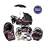 Twing, 3-in-1 Travel System with Baby Pram, Car Seat Black & Small Flowers