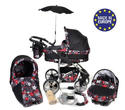 Twing, 3-in-1 Travel System with Baby Pram, Car Seat, Pushchair & Accessories, Black & Small Flowers 510fG7iptBL