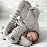 Tuohai Elephant Pillow with Blanket Toddler Soft Animal Pillow Baby Children Sleeping Cuddly Comfortable Plush Toys (Grey)
