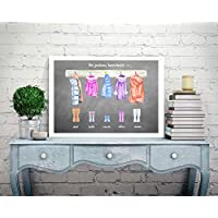 Personalised Family Print Picture Christmas Mothers Day Present Gift Coats & Wellies Watercolour P307