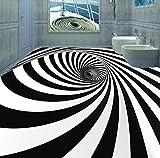 Lqwx Wallpaper 3D Stock Custom Schwarz Und Weiß Swirl Illusion Wasserfeste Selbstklebende Wandmalereien Pvc 3D-Bodenbeläge 120 Cmx 100 Cm