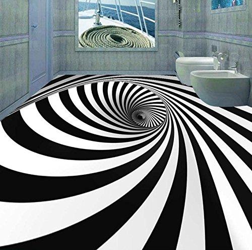 Lqwx Wallpaper 3D Stock Custom Schwarz Und Weiß Swirl Illusion Wasserfeste Selbstklebende Wandmalereien Pvc 3D-Bodenbeläge 120 Cmx 100 Cm (Tropischen Wald Hintergrund)