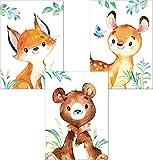 Lalelu-Prints 3er Set Poster Kinderzimmer Deko Junge Mädchen Bilder DIN A4 Waldtiere Reh Bär Fuchs I Kinderbilder Wandgestaltung Wanddekoration Wandbilder Babyzimmer