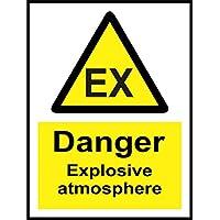 Etiqueta - Seguridad - Advertencia - Advertencia Peligro atmósfera explosiva señal de seguridad - 20x15cm - oficina, empresa, escuela, hotel