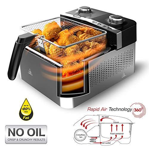 Heißluftfritteuse 1200W, innovatives Airflow-Blow-System - kein Umdrehen notwendig - Heissluft Fritteuse - Airfryer ohne Fett/Öl