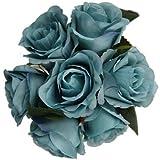 31cm Artificial azul rosa diseño de ramo de mano con 7cabezales de flor grande-casa boda