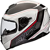 Shox Assault Tracer Motorcycle Helmet XS White/Black/Red