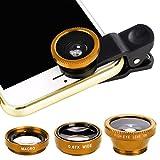 GUIGSI 3 in 1 Clip On Fisheye Fischauge Objektiv, Smartphone linsen Set(180°Fisheye Objektiv, 0.67X Weitwinkelobjektiv, Makroobjektiv),Kamera Objektiv Kits für Mobile Handy