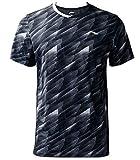 Li Ning Herren Badminton Wettkampf-T-Shirts Jersey 88% Polyester 12% Spandex Teamwear Futter bei Dry Basic Sport Tees AAYP063 - Schwarz - Groß