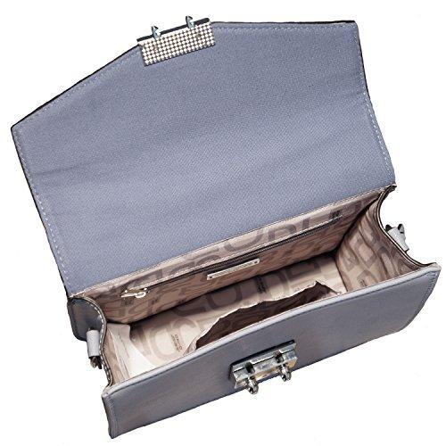 David Jones Borsa donna mini bag in ecopelle modello cartella, portabile a mano e a tracolla Azzurro
