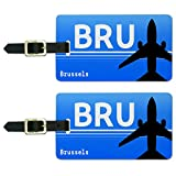 Brüssel Belgien–National (BRU) Flughafen Code Gepäck Koffer ID Tags Set von 2
