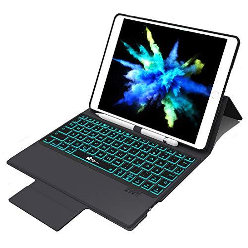 EC Technology Tastatur Hülle Kompatibel mit iPad 2018 / iPad Air 2 / iPad 2017 / iPad Air 1 & ipad pro 9.7, QWERTZ Layout 7 Farbe Backlight Bluetooth 4.0 Keyboard case mit Bleistifthalter & Ständer