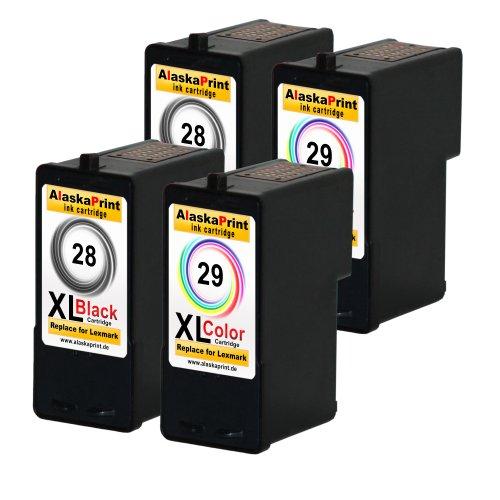 Preisvergleich Produktbild Alaskaprint 4er-Pack Kompatible Druckerpatronen Als Ersatz für Lexmark 28 XL + 29 XL (Schwarz , Farbig)
