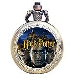 Taport Orologio da tasca al quarzo in bronzo antico inciso per gli appassionati di Harry Potter