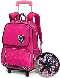 65d8104a32 HCC& Trolley Schoolbag riflessivo Ragazzi Ragazze Impermeabile rotolamento  Zaino della Scuola Borse da Viaggio 10 Ruote Scale Che…