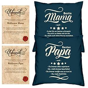 Geschenk-idee für Eltern zu Weihnachten Farbe navy-blau Mama und Papa Kissen-Duo