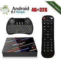 H96 MAX+ Android 8.1 TV Box 4GB RAM/32GB ROM 4K Ultra HD RK3328 Quad Core Soporte 2.4GHz WiFi con Wireless Mini Backlight Keyboard