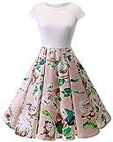 HomRain Damen 50s Retro Vintage Cocktail Rockabilly Swing Party Basic Kleid White-Pink Flower M