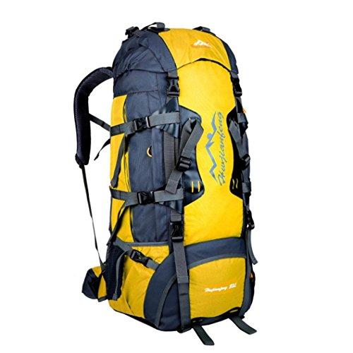 Clode® Outdoor Oxford Wanderrucksäcke Trekkingrucksäck Wandern Klettern Rucksack Freizeit Wasserdichte, 80 Liter,80 x 38 x 25cm Gelb