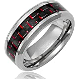 Cavalier Jewelers 8MM Men's Tungsten Carbide Ring Wedding Band with Black and Red Carbon Fiber Inlay