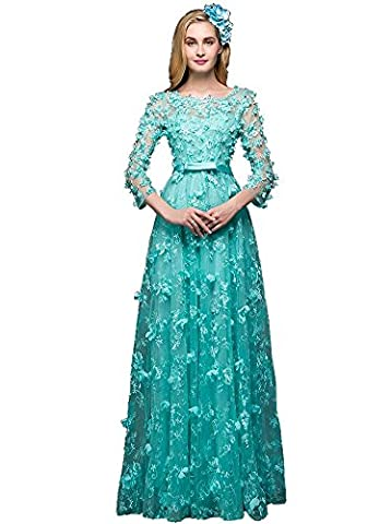 Beauty-Emily Flowers A-Line Maxi Lace Long Sleeve See-Through Pearl Sequin Bow-Tie Women's Gowns Christmas Evening Mother of the Bride Dresses Color Green,Size UK14