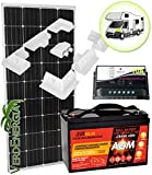 Kit de panel solar 150W 12V 10A Panel Solar policristalino + Controlador de carga solar PWM 100Ah batería AGM