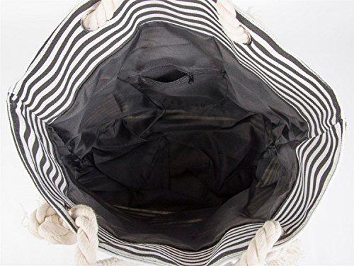 styleBREAKER borsone da spiaggia a righe con stella, borsa scolastica, borsa per shopping, donna 02012037, colore:Marrone-Bianco / Corallo Nero-Bianco / Verde