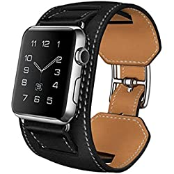 SODIAL(R) Cuff Leather Strap Bracelet Watch Band For Apple Watch iWatch Gift Black 42mm