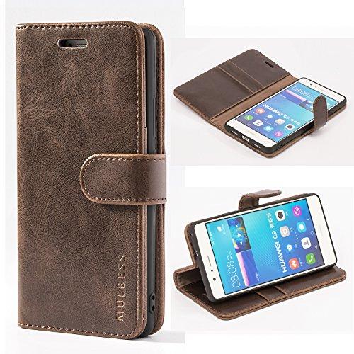 Mulbess Ledertasche im Ständer Book Case / Kartenfach für Huawei P9 Lite Tasche Hülle Leder Etui,Vintage Braun