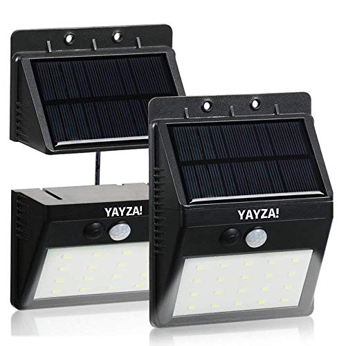 YAYZA! 1-Paquete Panel solar alimentado Luz de pared inalámbrica 20 LED 6W Dividir Separable Impermeable Seguridad para exteriores Sensor de movimiento PIR 500lm Iluminación en blanco fresco para