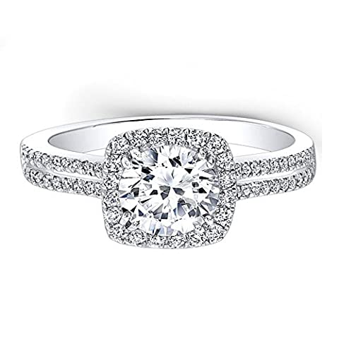 Hallmarked Gold Solitaire Diamond Color D Clarity VVS1 Solid 14K White Gold Womens Engagement Ring Simulated Round Cut 1.55Ct. Diamond Gold Wedding Band Anniversary Gift (S)