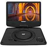 Portable 9 inch Swivel DVD Player with Rechargeable Battery / USB / AV Out / Headphone Jack / Remote Control/ AC-DC Power Adapter/ Multi-Region DVD Format-Koramzi PDVD-900
