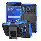 Samsung Galaxy Young 2 Funda,Mama Mouth Heavy Duty silicona híbrida con soporte Cáscara de Cubierta Protectora de Doble Capa Funda Caso para Samsung Galaxy Young 2 G130 G130H,Azul