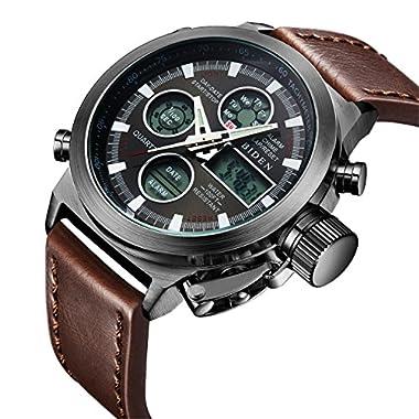 Watch,Mens Watches Digital Analog Sport Fashion Watch,Multifunction LED Date Alarm Brown Leather Waterproof Wrist Watch