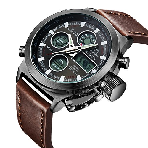 - 510fPoyv sL - Watch,Mens Watches Digital Analog Sport Fashion Watch,Multifunction LED Date Alarm Brown Leather Waterproof Wrist Watch