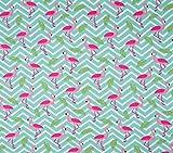 Qualitativ hochwertiger Jersey Stoff mit Flamingos auf