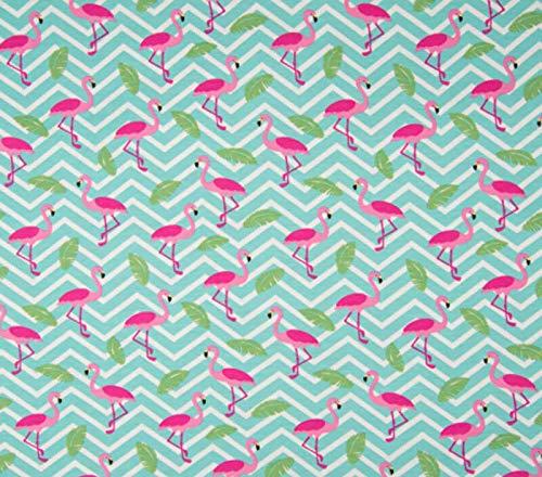 Zick-zack-nähen (Qualitativ hochwertiger Jersey Stoff mit Flamingos auf Zick-Zack-Muster in Weiß/Türkis als Meterware zum Nähen von Baby, Kinder und Erwachsenenkleidung, 50 cm)