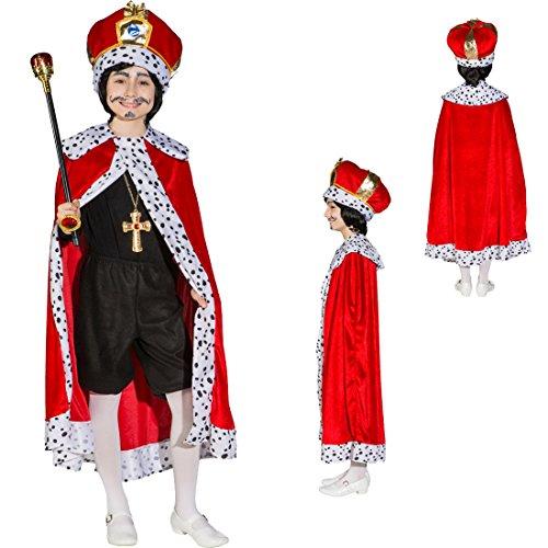 Königsumhang Kinder Königsmantel Jungen 152/164 königlicher Umhang Prinz Prinzenumhang Königsrobe Kaiserrobe Kinderfasching König Kostüm Prinzenkostüm (Königliche Hoheit Kostüm)