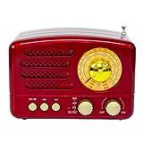 Totento Radio Retro Vintage FM AM SW Portatile Ricaricabile stile in Legno con Stereo Altoparlante Bluetooth Supporta AUX, SD USB MP3, Ampia finestra di sintonia (Rosso)