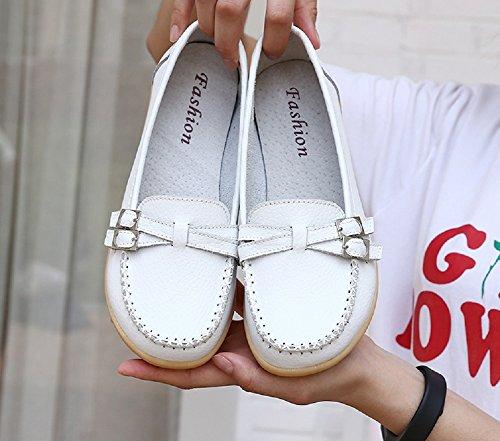 NEOKER Mocassini Donna in Pelle Loafers Moda Comode Slip On Scarpe da Guida con Comfort Zeppa Estivi Nero Multicolors 34-44 bianca