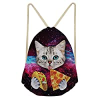Coloranimal Universe Galaxy Pattern Gym Drawstring Backpacks for Women Bag