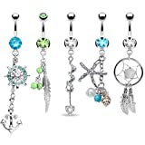 Best Belly Rings - Tribal Set Belly Bars Rings 5 Pieces Dangle Review