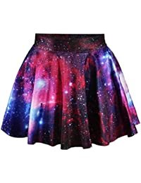 Ninimour-Fashion Damen Sommerkleid Retro Digital Print Vintage Kleid Minikleid Minidress Minirock Rock Skirt