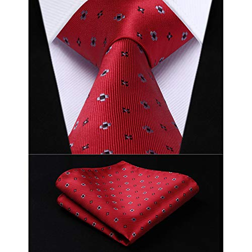 KYDCB Party Wedding Classic Einstecktuch Krawatte Rot Weiß Schwarz Floral 3,4